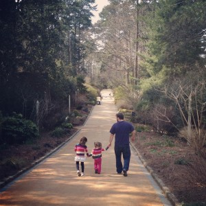 Daddy-daughter stroll